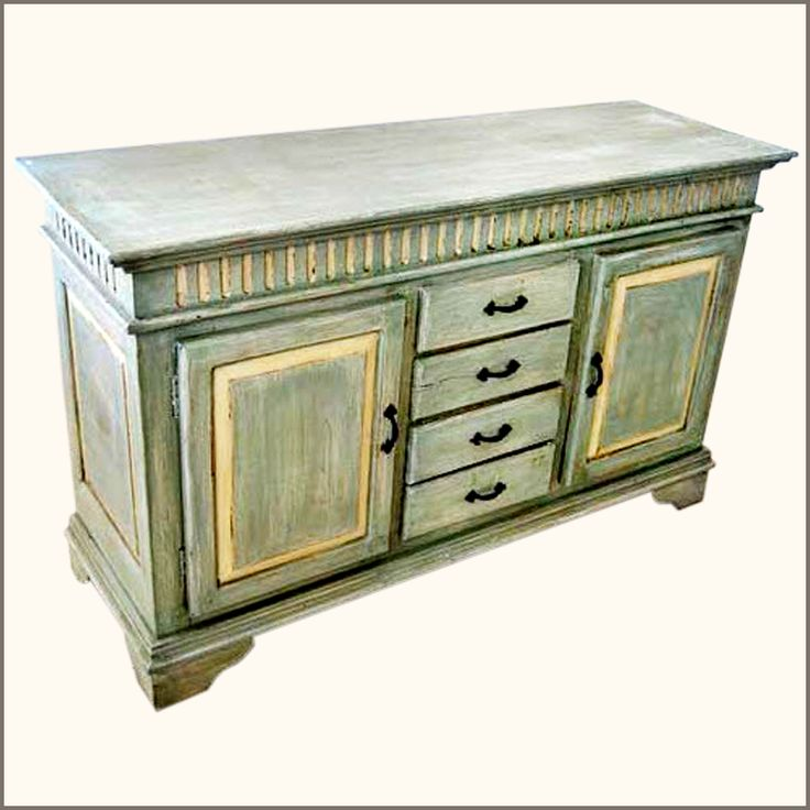 Oklahoma Farmhouse Hand Painted Sideboard Buffet With Wrought Iron Hardware NEW