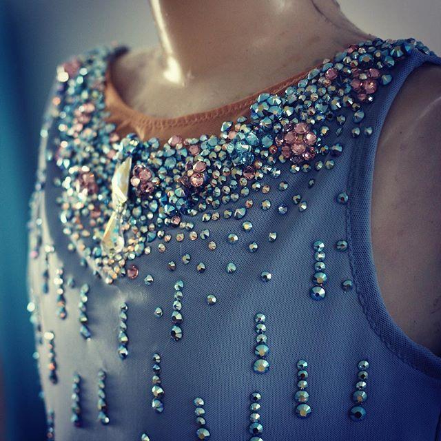 Figure skating dress - Swarovski neckline detail leotards rhythmic gymnastics