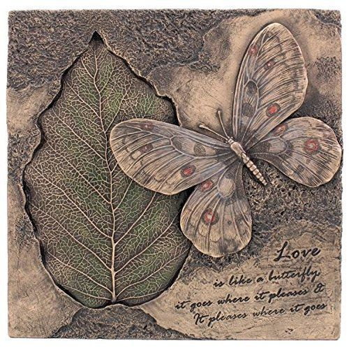 85 Inch Cold Cast Bronze Finish Butterfly and Bodhi Leaf Plaque ** To view further for this item, visit the image link.