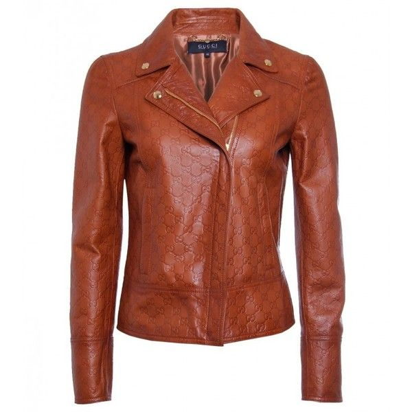 Gucci Tan Embossed Leather Jacket (3,795 CAD) ❤ liked on Polyvore featuring outerwear, jackets, leather motorcycle jacket, brown leather jacket, tan jacket, moto jackets and biker jackets