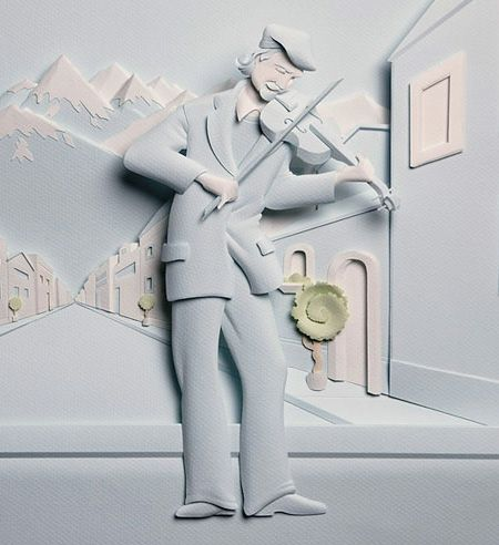 The Violinist - Paper Sculpture by: Carlos Meira br