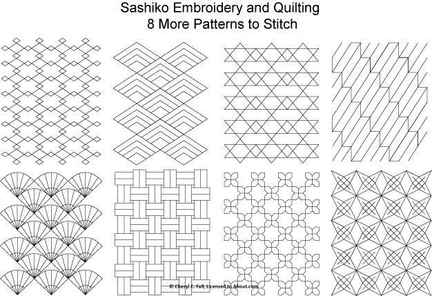 Durf je wel... patroontjes te tekenen? Dit zijn quilt- en borduurmotiefjes die het ook niet verkeerd doen als zentangle voorbeelden. Lekker natekenen!  8 free sashiko patterns - Set 2