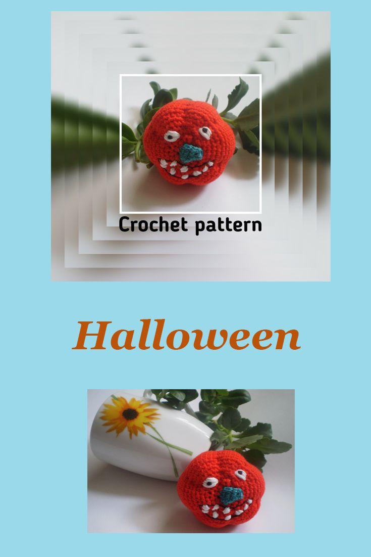 Pumpkin Crochet pattern Primitive Halloween crochet decor Crochet play food vegetables Amigurumi pumpkin Halloween stuffed toy