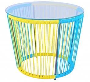 Replica Acapulco Round Table Blue/Yellow - Premium GALVANISED Powder Coated Steel.  Cheapest Price in Australia for this quality! Unlike other cheaper reproductions, our Replica Acapulco Side Tables are made from Galvanised Powder Coated Steel and are UV resistant.  Available in 4 vibrant colours to match any decor: Blue, Yellow, Black and White. Also available is the matching Replica Acapulco lounge chair.