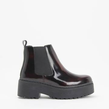 Jeffrey Campbell UNIVERSAL Wine Leather Platform Chelsea Boot