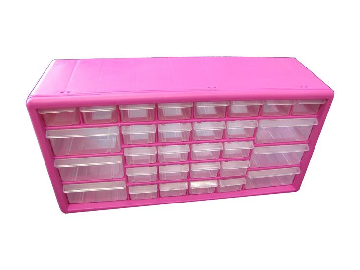 The Original Pink Box 30 Drawer Parts Bin, Wall Mountable - Tools - Tool Storage - Tools Storage Accessories