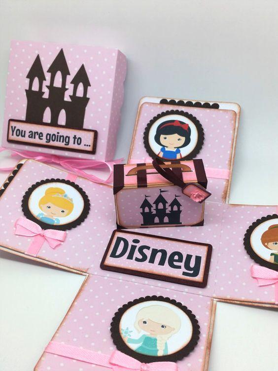 Vas a Disney  viaje sorpresa tarjeta de caja explosión