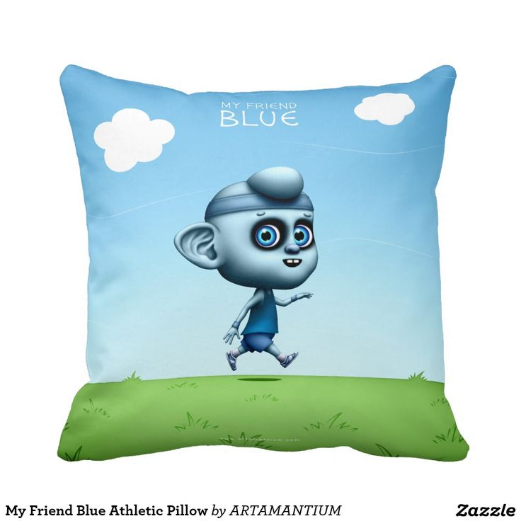 My Friend Blue Athletic Pillow