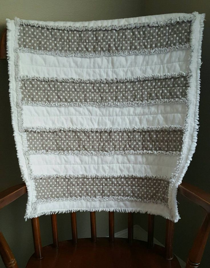 Grey and White Baby Rag Quilt  Gender Neutral baby Rag Quilt
