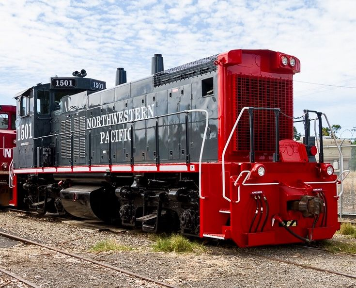 Northwestern Pacific Railroad, EMD MP15DC diesel-electric switcher locomotive in Schellville, California, USA
