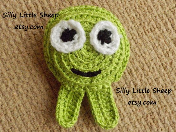 Toy  green monster crocheted and stuffed for by sillylittlesheep, $12.00