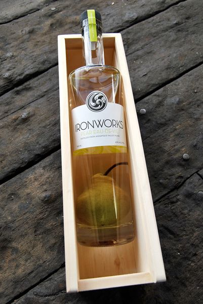 Ironworks Distillery : Lunenburg, Nova Scotia. The pear is grown in the bottle. So cool.