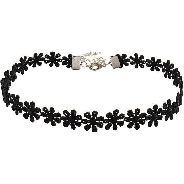 PearlPlus Women's Hot Sexy Black Lace Flowers Choker Lolita Necklace ($3.19) ❤ liked on Polyvore featuring jewelry, necklaces, black necklace, flower choker, choker necklace, black jewelry and blossom necklace