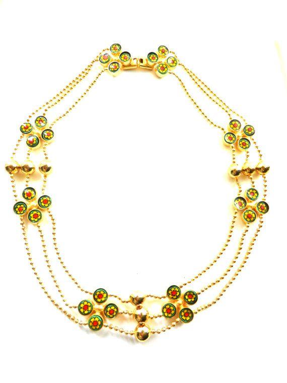 Splendid three strands festoon necklace with by RAKcreations