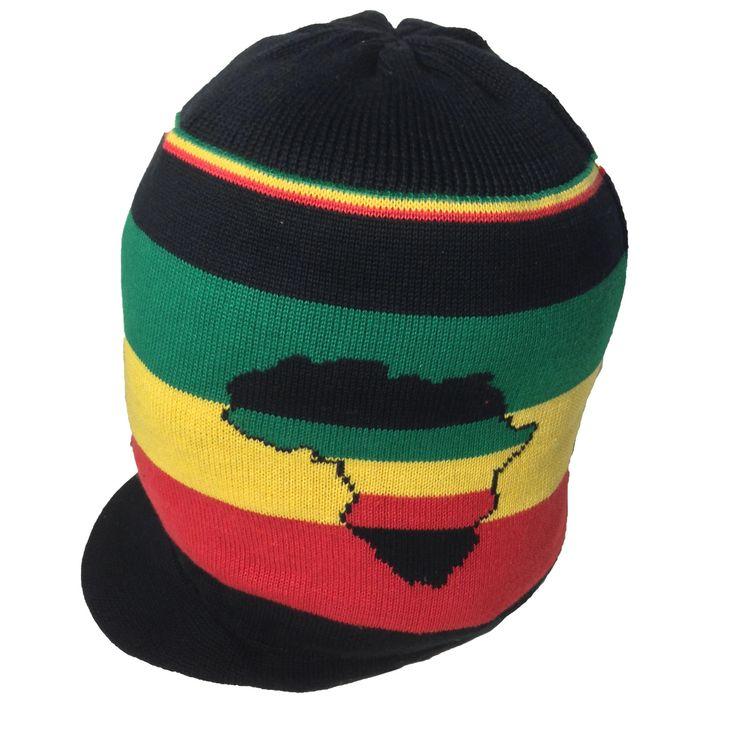 Africa Rasta Rastafari Peak Hat Cap Reggae Jamaica Marley Ethiopia Selassie M/L