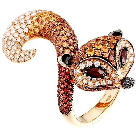 Scavia | The Fox ring with diamond and orange sapphire pavé. Photo courtesy press office.  Via Vogue Italia, Gioiello, Oct 2010.
