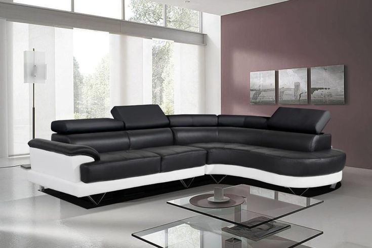Black and White Bonded Leather Corner Sofa with Right Hand