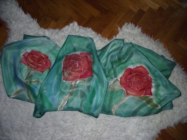 rózsák zöldben, selyemsál