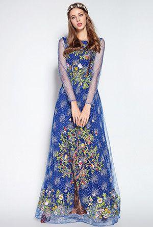 LD LINDA DELLA Runway Designer Maxi Dress Women's High Quality Stunning Voile Star Floral Flowe Embroidery Long Dress
