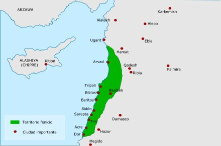 Phönizisches Stammland, grün unterlegt