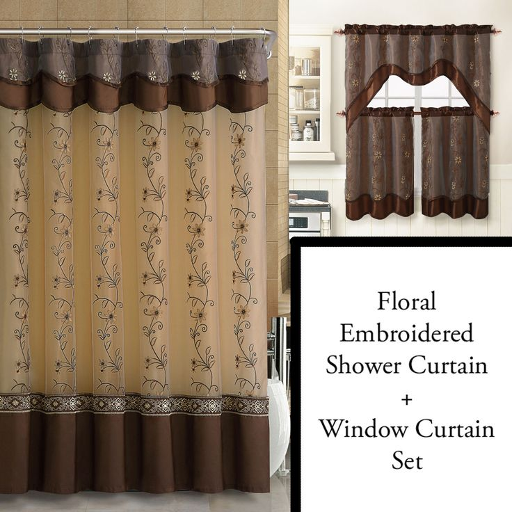 Chocolate Brown Shower Curtain and 3 Pc Window Curtain Set: Bathroom Decor Set, Double Layer, Floral Embroidery - Bathroom And More