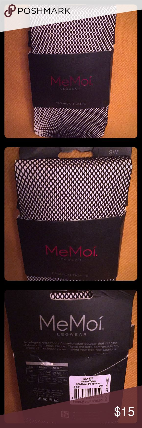 "🆕 MeMoi Black Fishnet Tights Always in Vogue! Authentic MeMoi Black Fishnet Tights. S/M: 4'10""-5'6""; 90-135 lbs. Stylish. Soft. Comfortable. 92% Nylon/8% Spandex. Brand New still in Original Packaging. Excellent Condition. No Trades. See Other Cool Legwear in My Closet.👌🏽 MeMoi Accessories Hosiery & Socks"