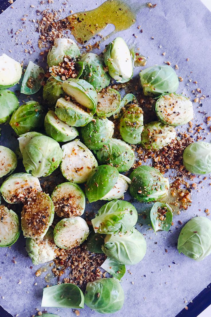 Roasted brussle sprouts with homemade nutty dukkah