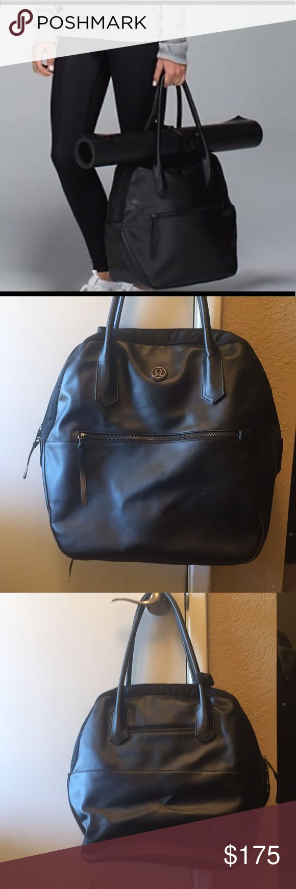 Lululemon Bag Happy Hatha Hour Large Sport Black Absolutely beautiful large, Lululemon Happy Hatha Hour Bag! This bag is a really nice and it is ready to be put to good use. Has been gently worn with minor rub marks (mostly on back of the bag) as shown in photos (the ones in the front are not very noticeable). The inner lining is in great shape! There is a red mark and slight yellowing near it on the inside of the inner pocket portion (shown in photo). All and all a wonderful bag that is…