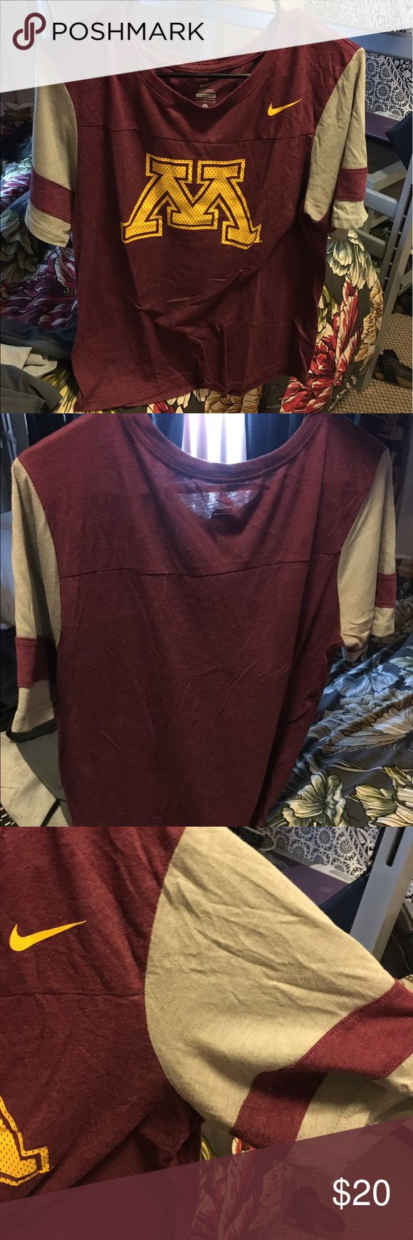 Nike tee with U of MN logo Football style tee for university of Minnesota. Very soft and comfy material. Only worn once. Women's size: L Nike Tops Tees - Short Sleeve