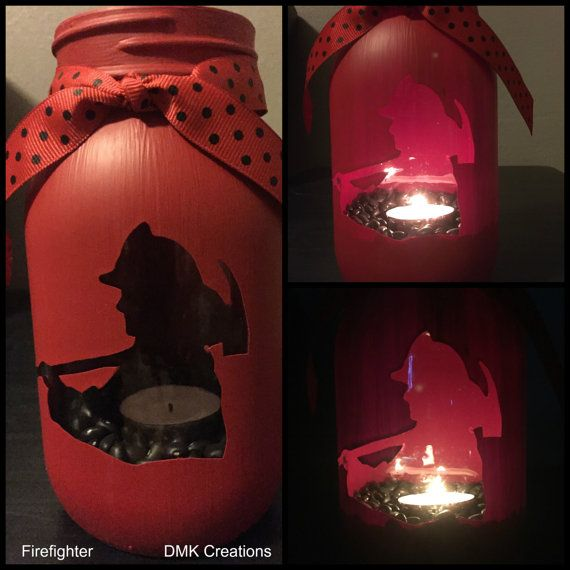 Firefighter Mason Jar Tea Light Candle Holder by DMKCreationsofFL