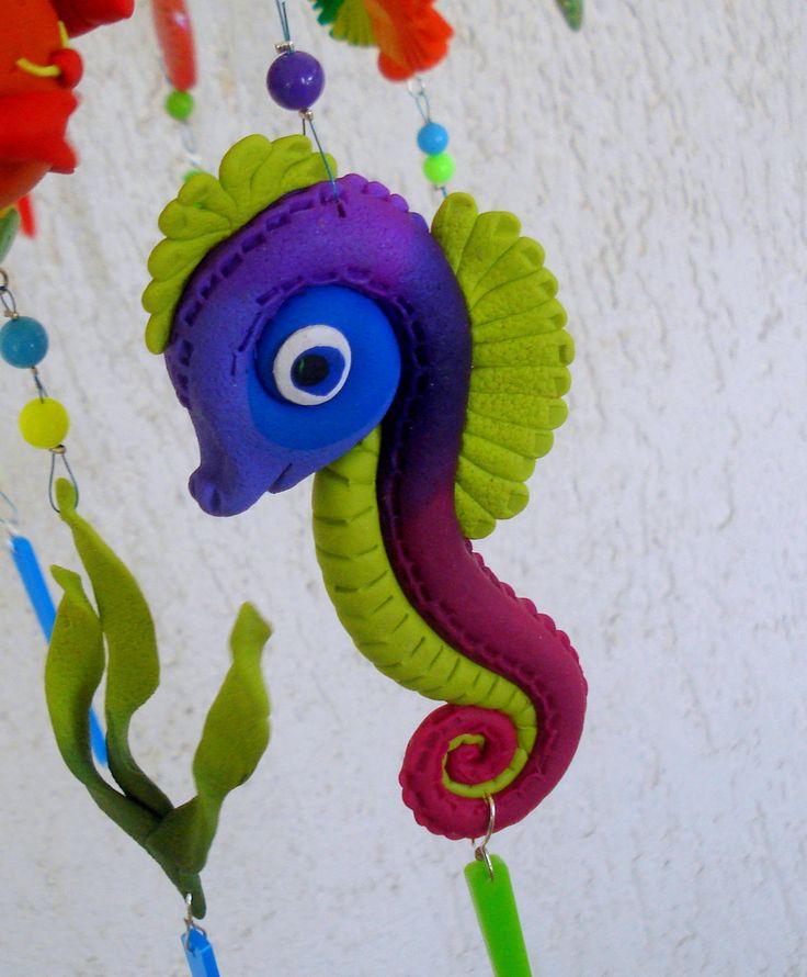 https://flic.kr/p/Hgp43n | Living in the sea - Mobile, handmade, polymer clay
