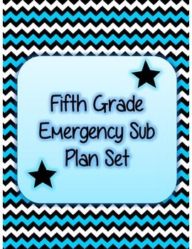 Fifth Grade Emergency Sub Plan Packet just hit print! :)