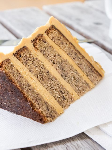 Banana Cake with Salted Caramel Icing by raspberri cupcakes, via Flickr