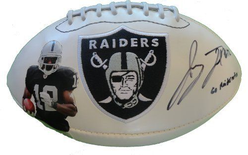 "Jacoby Ford Autographed Custom Oakland Raiders Logo Photo Football Featuring ""Go Raiders"" Inscription! Proof Photo by Southwestconnection-Memorabilia. $134.99. This is a Jacoby Ford autographed custom Oakland Raiders logo photo football with ""Go Raider Nation"" inscription! Jacoby has signed the football in black sharpie for us. Check out the photo of Jacoby signing for us. Proof photo is included for free with purchase. Please click on images to enlarge. 1"