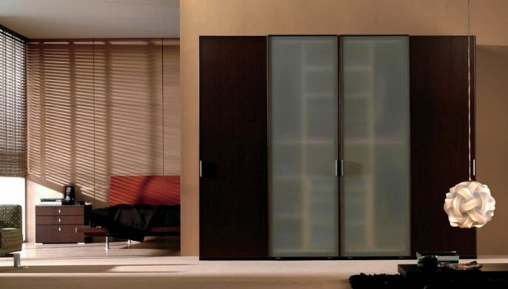 Modern Sliding Door Wardrobe And Unique White Pendant Light As Well As Orange Sofa Plus Brown Small Cabinet Plus Black Coffee Table Design Ideas: Beautify Your Room with Modern Minimalist Wardrobe Designs