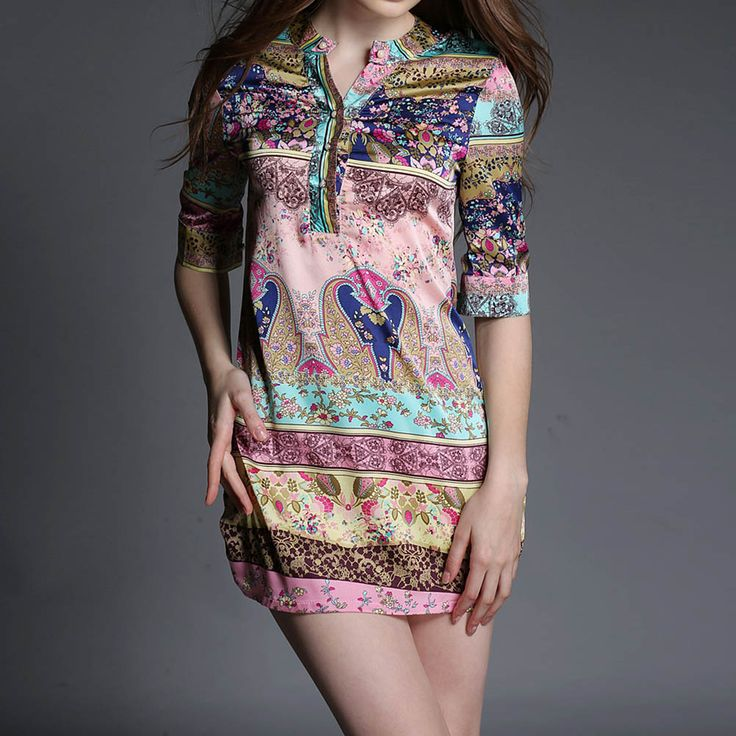 Новинка печать атласная половина рукав рубашки верхней части кофточки свободного покроя стильный длинные рубашки для женщин дамы BS88