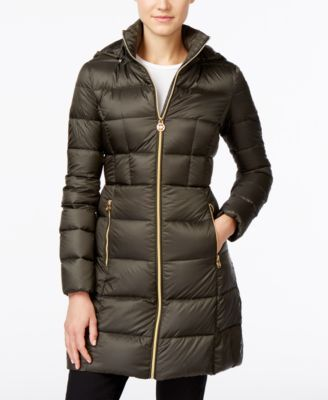 MICHAEL Michael Kors Hooded Long Packable Down Puffer Coat