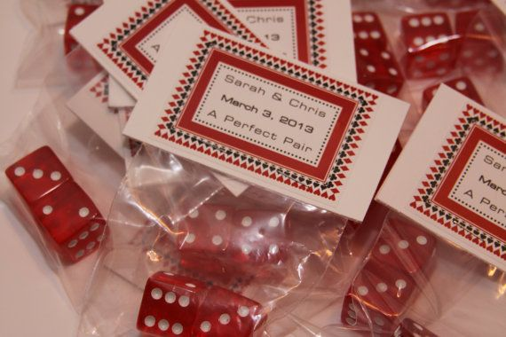 Casino Dice wedding party favors ---> because it sure will be a gamble....put it all on black!  LOL