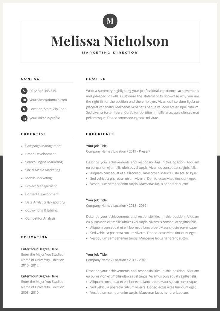 Modern resume template creative cv for word elegant