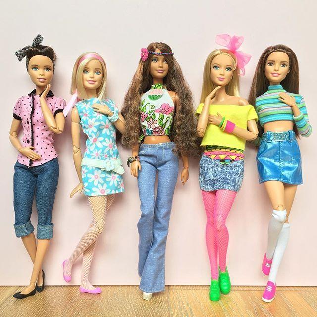 Through the decades. 50's - 60's - 70's - 80's - 90's Dolls L-R: Fashionista on M2M body, M2M Barbie, Petite Fashionista on 'Swappin' Styles' body, Tall Fashionista on M2M body  and M2M Teresa.