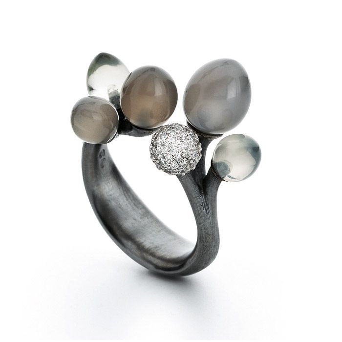 Charlotte Lynggaard, Midnatt (Midnight), oxidized silver, moonstones, and 67 pavé set diamonds in 18-karat white gold