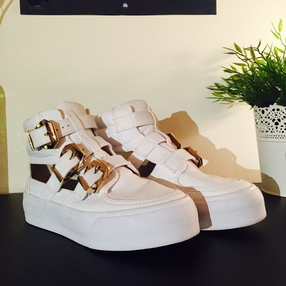 ASOS White Platform Sneakers White platform sneakers with gold buckles. Slightly used. ASOS Shoes Sneakers