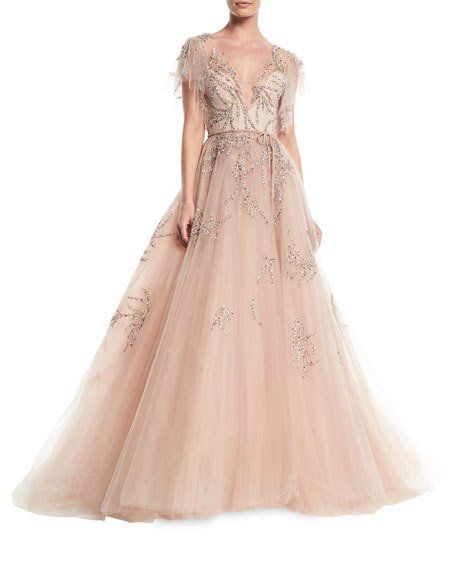Get free shipping on Monique Lhuillier Plunging Cap-Sleeve Embellished  Tulle Evening Ball Gown at Neiman Marcus. Shop the latest luxury fashions  from top ... 5ad22435d24a