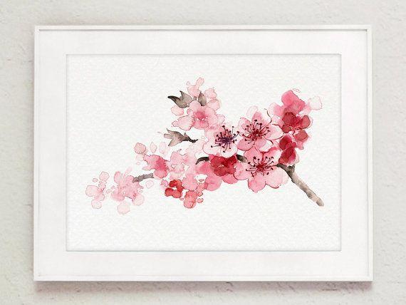 Cerisier en fleurs peignant une branche épanouie d'arbre rose, aquarelle, carte du jour de mère japonais, peinture abstraite florale, décor de chambre d'enfant   – wall gallery