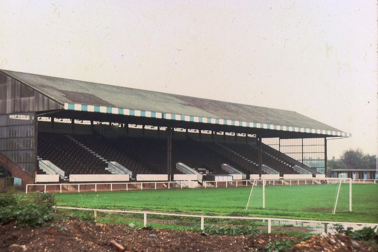 The 3,500 capacity stand at Bedford Town's Eyrie, bought second-hand from Mitcham Stadium in 1956.  Pic Bob Lilliman.