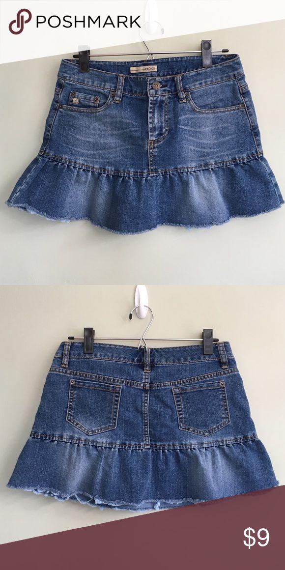 """Mini distressed jean skirt Like new, distressed look. 12"""" tall 14.5"""" waist. Refuge Skirts Mini"""