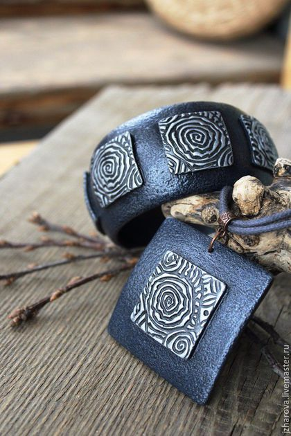 by Julia Zharova, owner of WILD ONION workshop. Wide bracelet made of polymer clay Mists of Avalon.