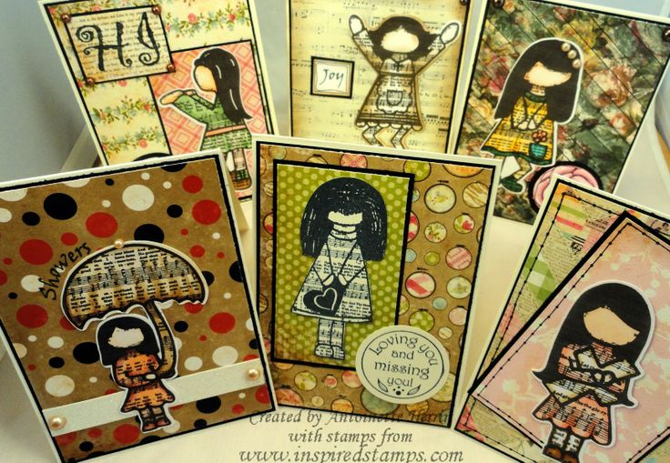 art; journal; cards; character card; JANUARY; Inspired Stamps; kary;  artwork at www.inspiredstamps.blogspot.com