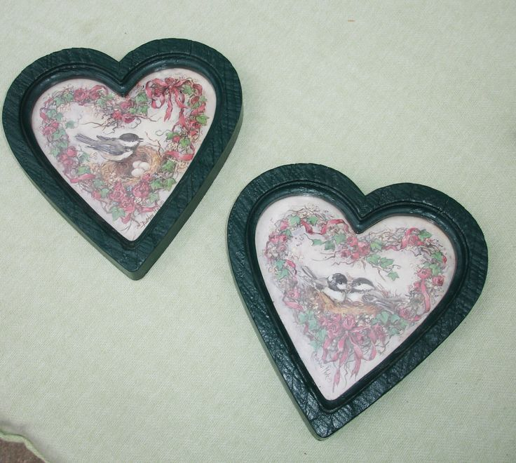 """These heart shaped frames have the look of rough cut wood look and are painted green! They feature pretty bird artwork! Home Interior Gifts.. Made in USA. Glass included.  Measurements:  8"""" x 7 3/4"""""""