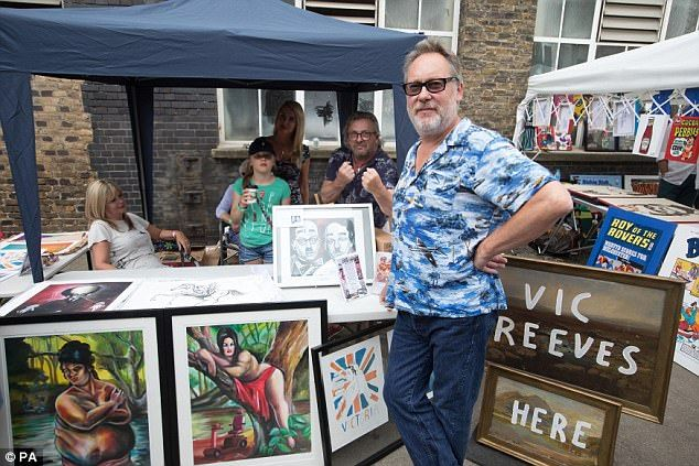 Exclusive deals: Artist Vic Reeves was on hand to help punters choose pieces from his stal...